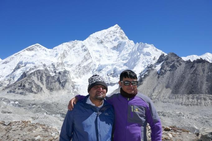Deepak and Tshering at Gorakshep before our flight